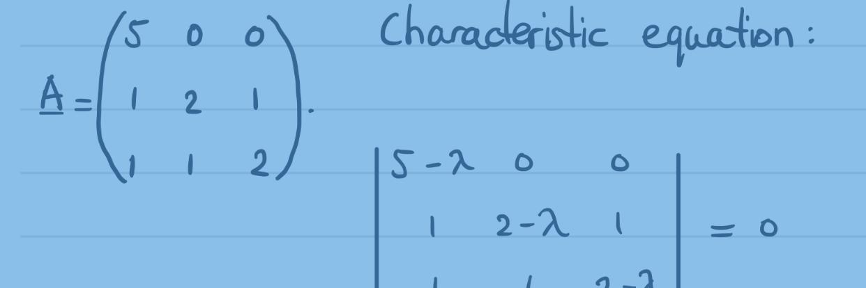 Reële eigenwaarden en eigenvectoren van 3×3 matrices, voorbeeld 1