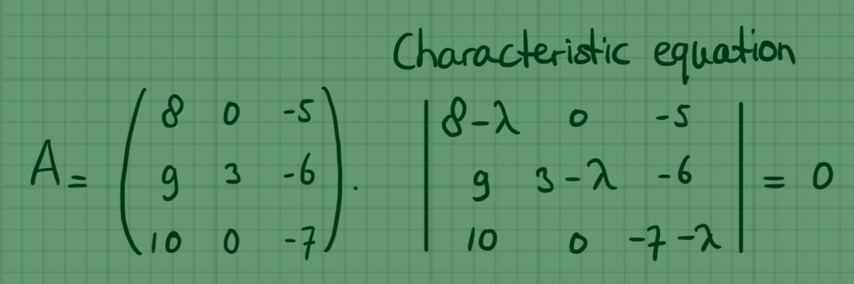 Reële eigenwaarden en eigenvectoren van 3×3 matrices, voorbeeld 2