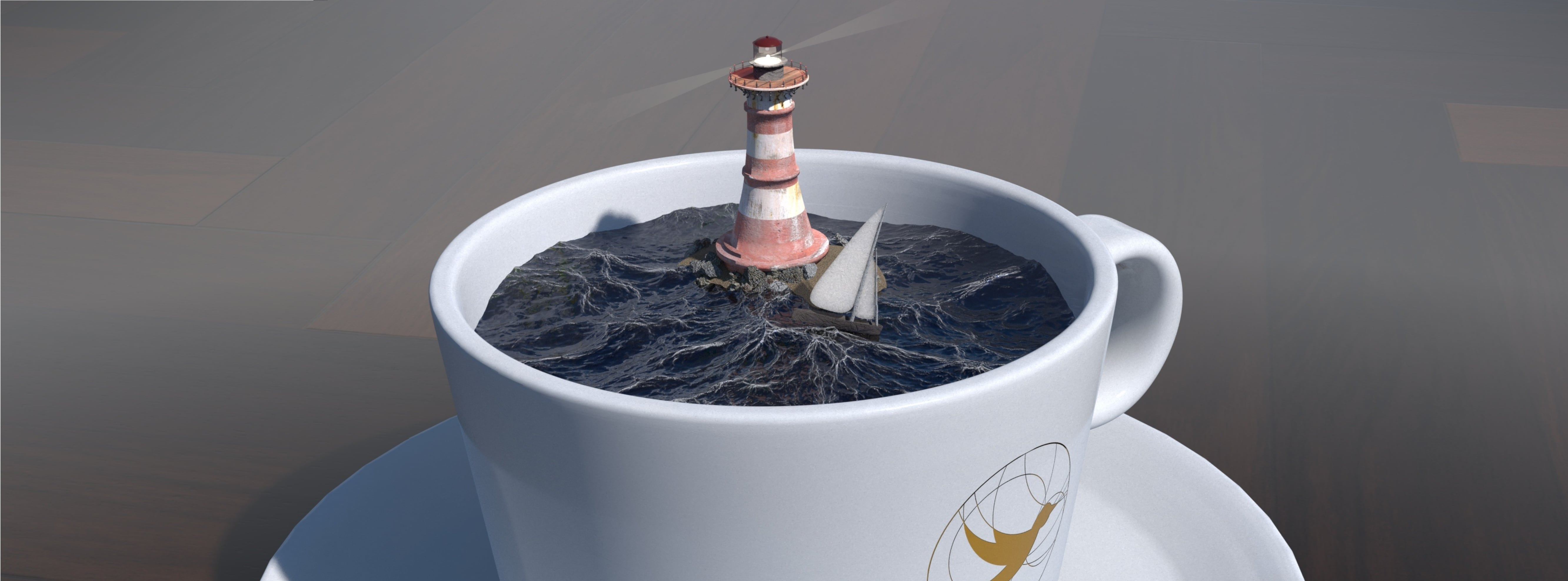A computer-generated 3D image of a cup of coffee. The coffee, however, looks like a moderately turbulent sea. There's a tiny sailboat trying to avoid a lighthouse. All in this cup.