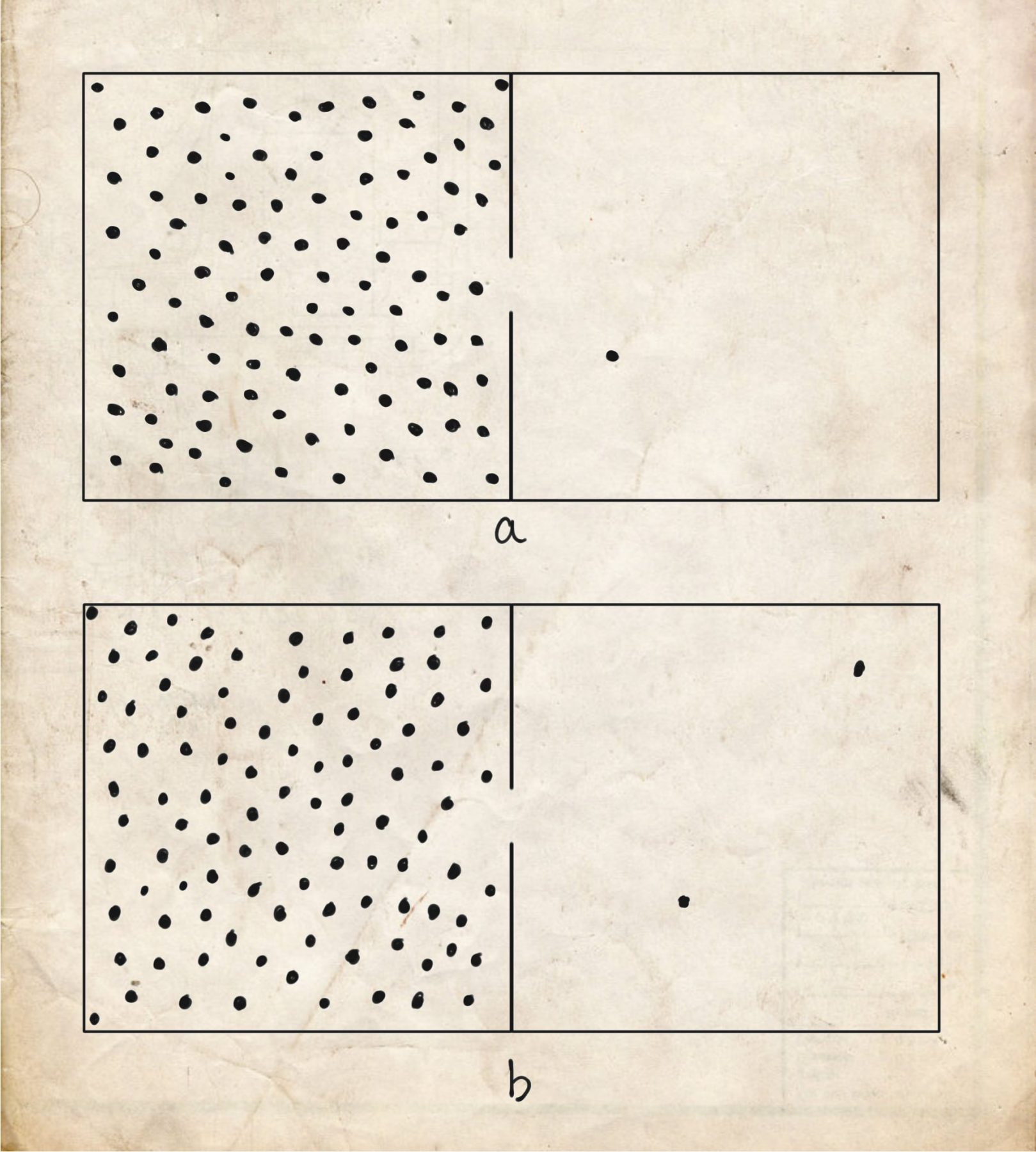 Figure 1. Two boxes with gas molecules bouncing around inside. In box (a), one has escaped, 99 remain. In box (b), 98 remain, two have escaped.