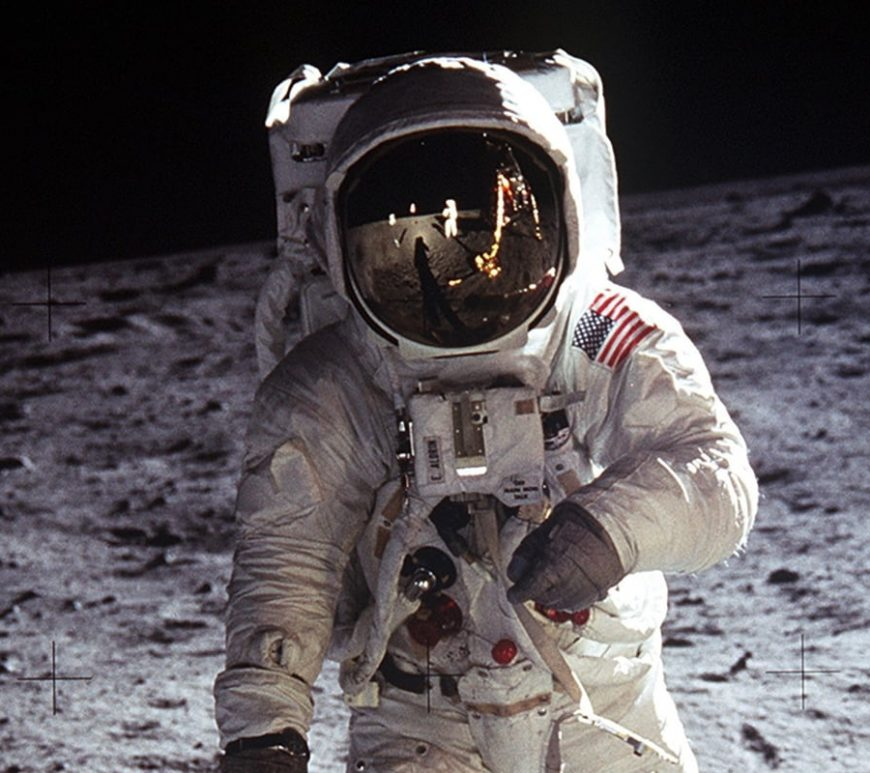 """Astronaut Buzz Aldrin, lunar module pilot, walks on the surface of the Moon near the leg of the Lunar Module (LM) """"Eagle"""" during the Apollo 11 exravehicular activity (EVA). Astronaut Neil A. Armstrong, commander, took this photograph with a 70mm lunar surface camera. While astronauts Armstrong and Aldrin descended in the Lunar Module (LM) """"Eagle"""" to explore the Sea of Tranquility region of the Moon, astronaut Michael Collins, command module pilot, remained with the Command and Service Modules (CSM) """"Columbia"""" in lunar orbit."""