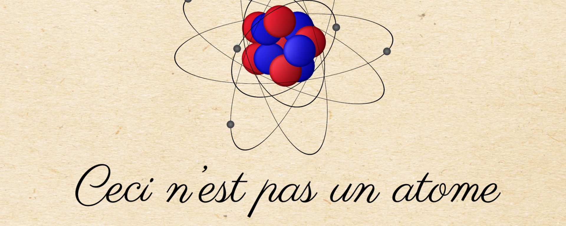 A classical image of an atom is portrayed with an electron whizzing around the nucleus. They are all portrayed as balls, which is false.
